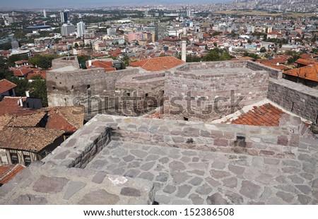 Ankara Castle Wall with the view of Ankara, Turkey.  - stock photo