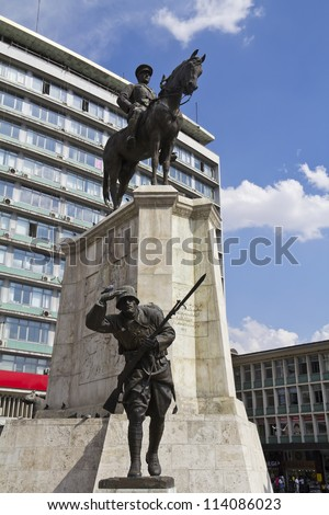 Ankara, City center, Ulus square, statue of Ataturk on horse, Turkey
