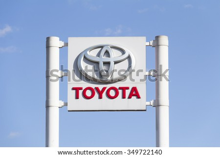 Ankara - Feb 7: Toyota logo on February 7, 2015 in Ankara, Turkey. Toyota Motor Co is world's largest automobile manufacturer by sales and production headquartered in Toyota, Japan. - stock photo