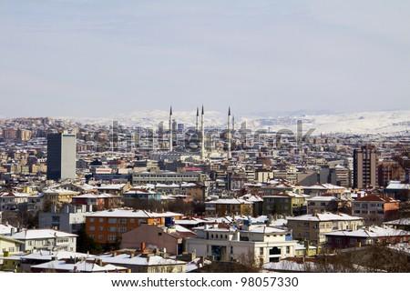 Ankara in winter - capital of Turkey - stock photo