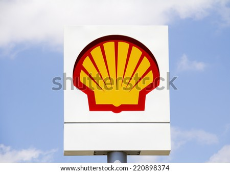 ANkara - June 21: Emblem Shell Oil Company, June 21, 2014 in Ankara, Turkey. Shell Oil Company is United States-based subsidiary of Royal Dutch Shell, a multinational oil company. - stock photo