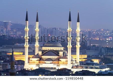 Ankara, Kocatepe Mosque at night. - stock photo