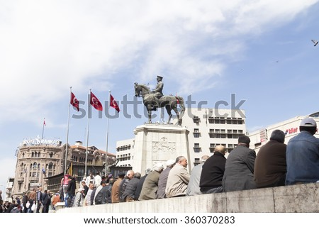 ANKARA, TURKEY - APR 25: Ataturk monument in city center, Ulus square shown on APRIL 25, 2015 in Ankara. Ulus is old city center of Ankara,Capital city of Turkey