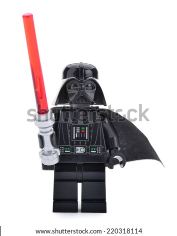 Ankara, Turkey - April 06, 2013: Close- up of a Lego Star Wars Darth Vader with sword isolated on white background. - stock photo
