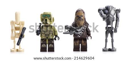 Ankara, Turkey - April 23, 2014: Lego Star Wars Droid Gunship minifigures isolated on white background.    - stock photo
