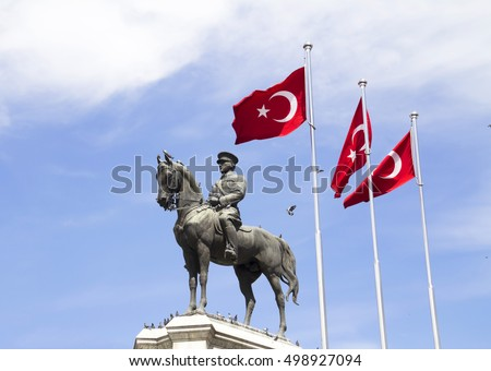 ANKARA, TURKEY - APRIL 25 , 2015:Statue of Ataturk, the founder of modern Turkey, Ulus, Ankara