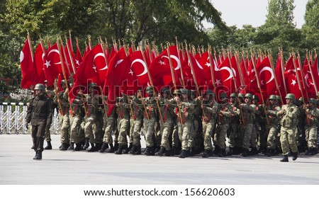 ANKARA, TURKEY - AUGUST 30: August 30th Victory Day was celebrated with an official ceremony and military parades at Hipodrom, Ankara on August 30, 2013 in Ankara, Turkey