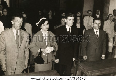 ANKARA, TURKEY CIRCA 1950s - People on court listening the sentence of the judge Circa 1950a - stock photo
