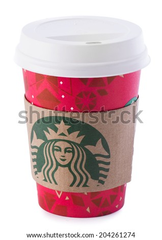 Ankara, Turkey - December 16, 2013:  A Starbucks coffee cup with new designed cup sleeve.  - stock photo