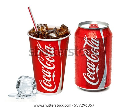 ANKARA TURKEY - Decembre 15, 2016 Illustrative Editorial photo of Classic Coca-Cola cup on white background. Coca-Cola Company is the most popular market leader in Turkey.