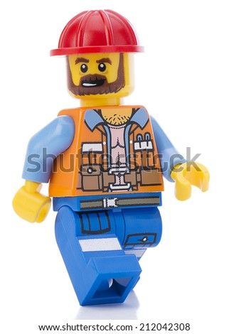 Ankara, Turkey - February 12, 2014 : Lego movie minifigure character Frank the foreman walking isolated on white background - stock photo