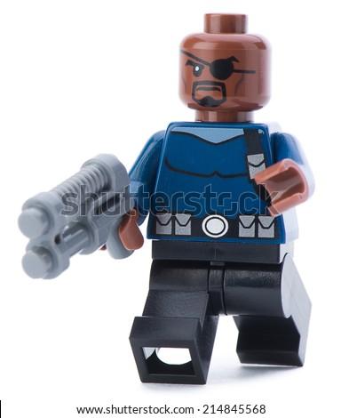 Ankara, Turkey - January 24, 2014: Lego Marvel super hero Nick Fury isolated on white background  - stock photo