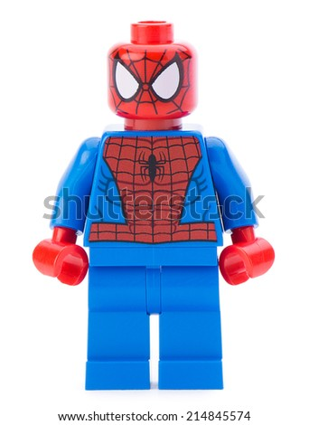 Ankara, Turkey - January 24, 2014: Lego Marvel super hero spiderman isolated on white background - stock photo