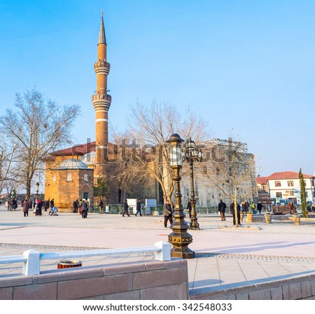 ANKARA, TURKEY - JANUARY 16, 2015: The Haci Bayram Square is famous for its ancient religious landmarks, such as Haci Bayram Mosque and the Temple of Augustus and Rome, on January 16 in Ankara.