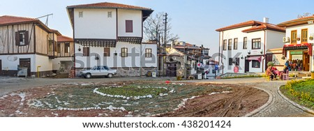 ANKARA, TURKEY - JANUARY 16, 2015: The square and the large flower bed in the tourist neighborhood of the city, known as the Turkish village, on January 16 in Ankara.