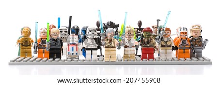 Ankara, Turkey - July 07, 2012: Studio shot of Lego Star Wars minifigures isolated on white background  - stock photo