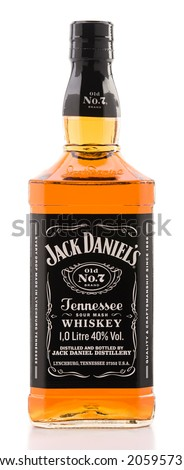 Ankara, Turkey - June 02, 2012: Bottle of Jack Daniels bourbon whiskey isolated on white background.  - stock photo