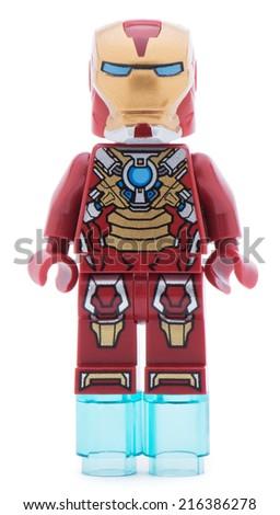 Ankara, Turkey - June 22, 2013: Lego Iron Man minifigure isolated on white background, - stock photo
