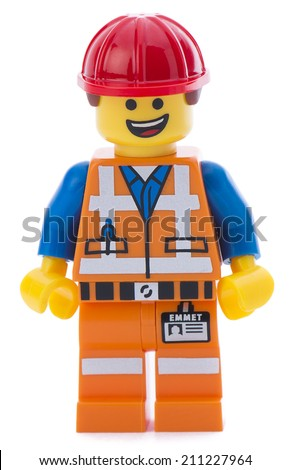 Ankara, Turkey - March 15, 2014 : Lego movie minifigure character Emmet isolated on white background.  - stock photo