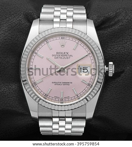 Ankara, Turkey - March 16, 2016: Product shot of a Rolex oyster perpetual datejust lady wristwatch for women.