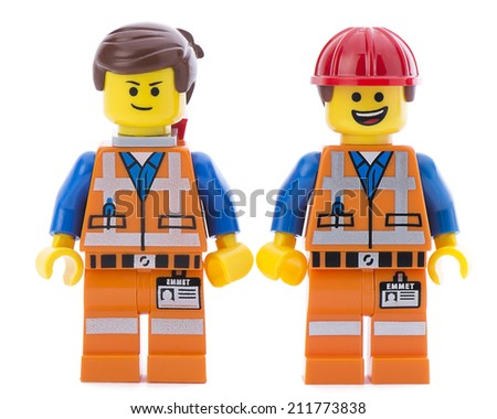 Ankara, Turkey - March 15, 2014 : Two Lego movie minifigure characters Emmet isolated on white background. - stock photo
