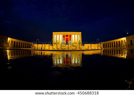 Ankara, Turkey - MAY 15, 2016: Anitkabir in Ankara Turkey. Anitkabir is Mausoleum of Ataturk.Changing of the guard