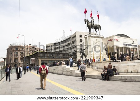 ANKARA, TURKEY - may 11: Ataturk monument in city center, Ulus square shown on MAY 11, 2014 in Ankara.  Ulus is old city center of Ankara,Capital city of Turkey