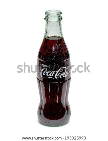 ANKARA TURKEY - May 16, 2014 Editorial photo of 250ml Classic Coca-Cola bottle on White Background. Coca-Cola Company is the most popular market leader in Turkey.