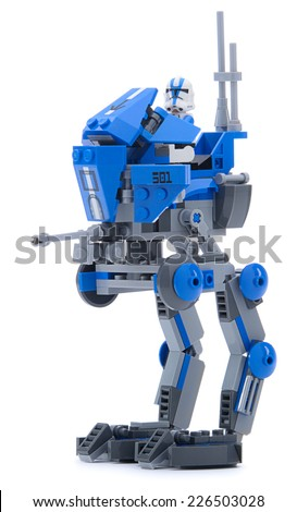 Ankara, Turkey - May 23, 2013: Lego Star Wars RT walker with swiveling cannon isolated on white background.  - stock photo