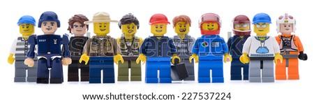 Ankara, Turkey  May 28, 2013:  Lego workers isolated on white background.  - stock photo