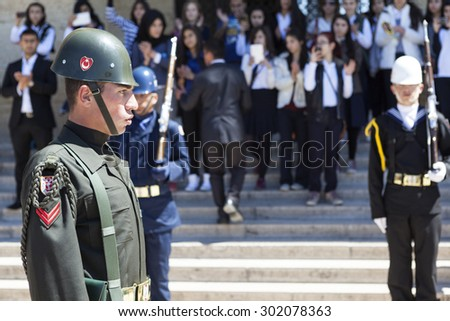 ANKARA, TURKEY - MAY 05, 2015: Photo of Change of guard of honor at the mausoleum of Ataturk.
