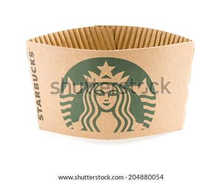 Ankara, Turkey - May 31, 2012:  Studio shot of a Starbucks coffee cup sleeve with new designed green logo isolated on white background. - stock photo