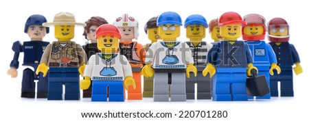 Ankara, Turkey  May 28, 2013:  Studio shot of different types of Lego labor isolated on white background.    - stock photo