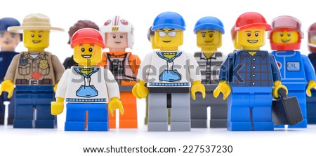 Ankara, Turkey  May 28, 2013:  Studio shot of different types of Lego workers isolated on white background.  - stock photo