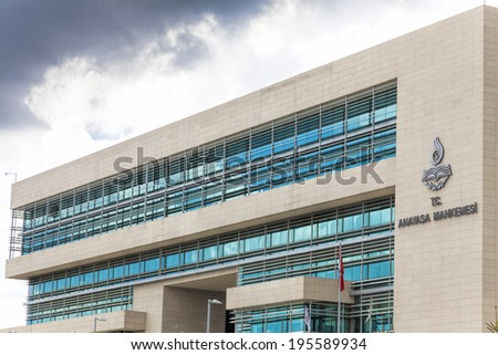 ANKARA, TURKEY - MAY 25, 2014 : The Constitutional Court of Turkey in Ankara(Turkish: Anayasa Mahkemesi) is the highest legal body for constitutional review in Turkey. - stock photo