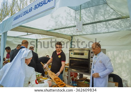 Ankara, Turkey - May 26, 2015: Turkish restaurant where a chef is working in pastery cooking - stock photo