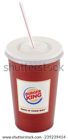 Ankara, Turkey - November 19, 2014: Burger King soft drink with straw isolated on white background.   - stock photo
