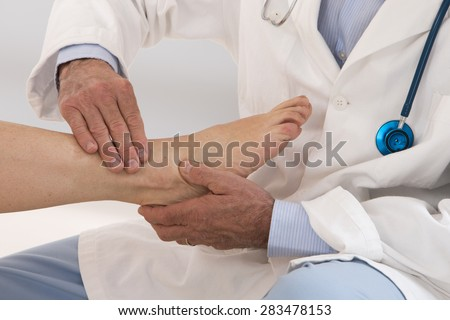 Ankle and Foot medical examination  for woman patient in hospital