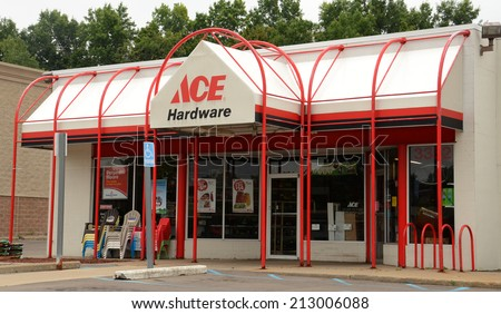 "ANN ARBOR, MI - AUGUST 24: Ace Hardware, whose east Ann Arbor store is shown on August 24, 2014, was recently ranked ""HIghest in Customer Satisfaction"" by J.D. Power & Associates.  - stock photo"