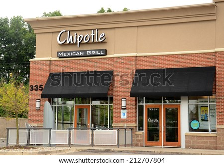 ANN ARBOR, MI - AUGUST 24: Chipotle Mexican Grill in Ann Arbor on August 24, 2014. Chipotle has 1680 stores in the United States and leads the industry in loyal customer following.  - stock photo