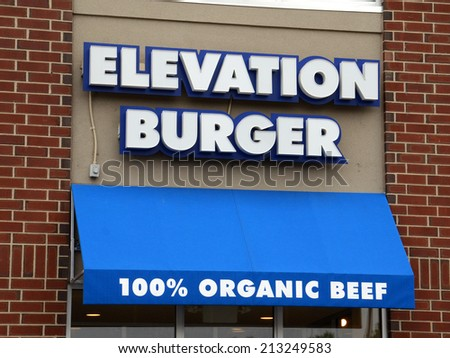 ANN ARBOR, MI - AUGUST 24: Elevation Burger, whose east Ann Arbor store front is shown on August 24, 2014, is the first and largest organic burger chain in the country.