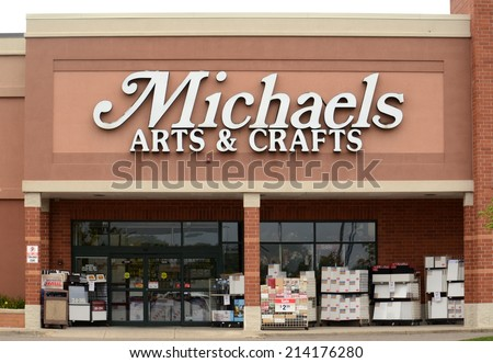 ANN ARBOR, MI - AUGUST 24: Michaels, whose Ann Arbor store is shown on August 24, 2014, has more than 1,100 stores in the United States and Canada.  - stock photo