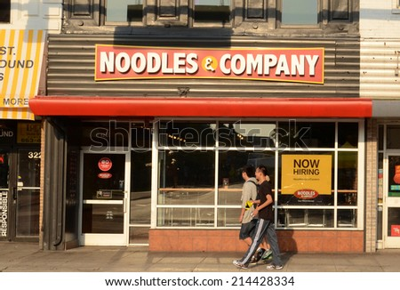 ANN ARBOR, MI - AUGUST 30: Noodles and Company, whose downtown Ann Arbor store is shown on August 30 2014, has 410 restaurants in the United States.  - stock photo