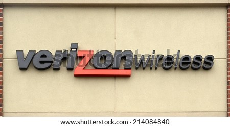 ANN ARBOR, MI - AUGUST 24: Verizon, whose east Ann Arbor store logo is shown on August 24, 2014, was recently ranked best in Overall Performance in the semi-annual National Rootscore Report.  - stock photo
