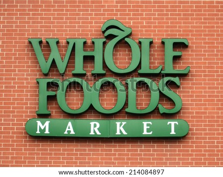 ANN ARBOR, MI - AUGUST 24: Whole Foods, whose east Ann Arbor store logo is shown on August 24, 2014, has over 360 stores in North America and the United Kingdom.
