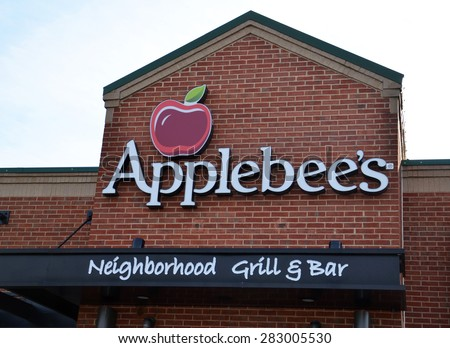 ANN ARBOR, MI - DECEMBER 22:  Applebee's, whose north Ann Arbor location logo is shown on December 22, 2014, has almost 2,000 restaurants. - stock photo