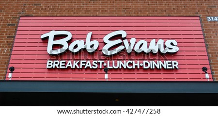 ANN ARBOR, MI - JANUARY 30:  Bob Evans, whose south Ann Arbor location logo is shown on January 30, 2016, has over 500 locations in 18 states.  - stock photo
