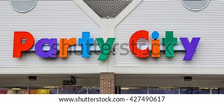 ANN ARBOR, MI - JANUARY 30: Party City, whose south Ann Arbor, MI store logo is shown January 30, 2016, has over 900 locations.