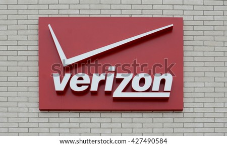 ANN ARBOR, MI - JANUARY 30: Verizon, whose south Ann Arbor store logo is shown on January 30, 2016, has over 2,300 locations.  - stock photo