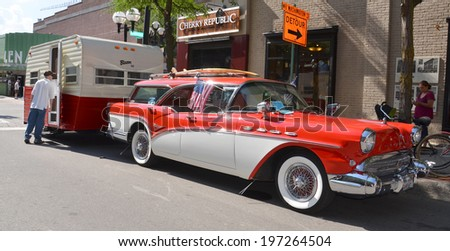 ANN ARBOR, MI - JULY 12: 1957 Buick Caballero at the Rolling Sculpture car show  July 12, 2013 in Ann Arbor, MI - stock photo
